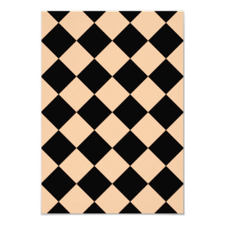 Diag Checkered - Black and Deep Peach Card