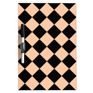 Diag Checkered - Black and Deep Peach Dry-Erase Board