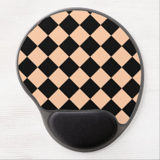 Diag Checkered - Black and Deep Peach Gel Mouse Pad