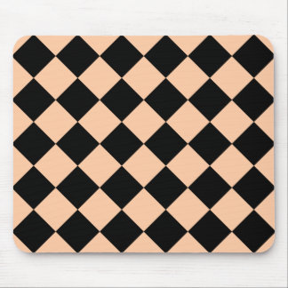 Diag Checkered - Black and Deep Peach Mouse Pad