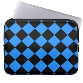 Diag Checkered - Black and Dodger Blue Computer Sleeve