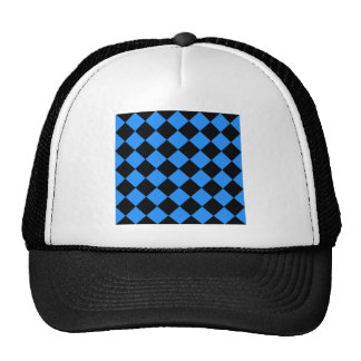 Diag Checkered - Black and Dodger Blue Trucker Hat