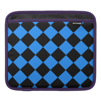 Diag Checkered - Black and Dodger Blue iPad Sleeve