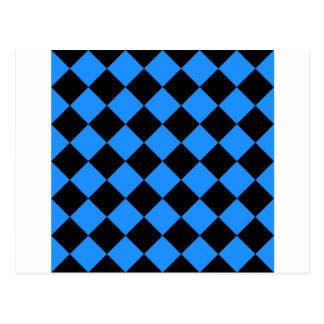 Diag Checkered - Black and Dodger Blue Postcard