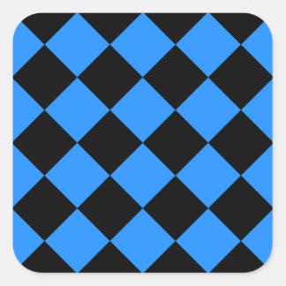 Diag Checkered - Black and Dodger Blue Square Sticker