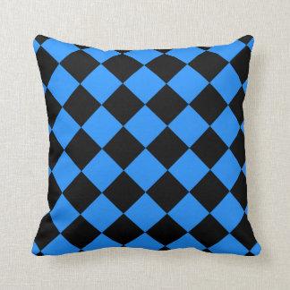 Diag Checkered - Black and Dodger Blue Throw Pillow