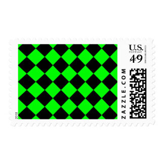 Diag Checkered - Black and Electric Green Postage Stamp
