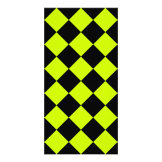 Diag Checkered - Black and Fluorescent Yellow Card