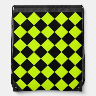 Diag Checkered - Black and Fluorescent Yellow Drawstring Bag