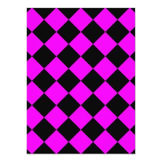 Diag Checkered - Black and Fuchsia Card