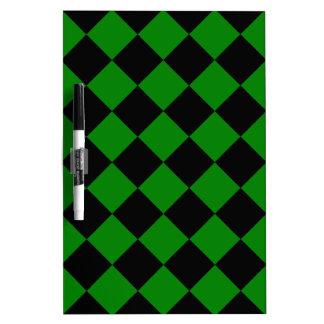 Diag Checkered - Black and Green Dry-Erase Board