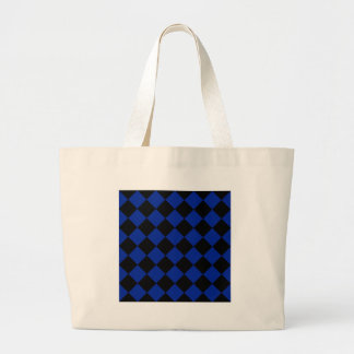 Diag Checkered - Black and Imperial Blue Large Tote Bag