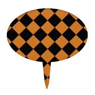 Diag Checkered - Black and Ochre Cake Picks