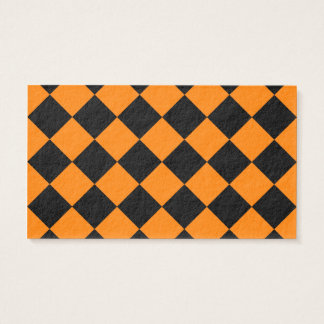 Diag Checkered - Black and Orange Business Card