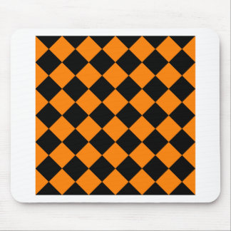 Diag Checkered - Black and Orange Mouse Pad