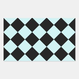 Diag Checkered - Black and Pale Blue Rectangular Sticker