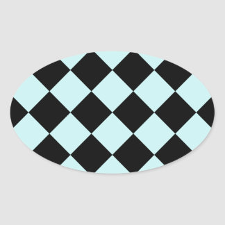Diag Checkered - Black and Pale Blue Oval Stickers