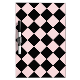 Diag Checkered - Black and Pale Pink Dry Erase Board