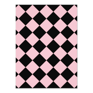 Diag Checkered - Black and Pink 5.5x7.5 Paper Invitation Card