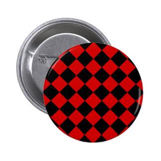 Diag Checkered - Black and Rosso Corsa 2 Inch Round Button