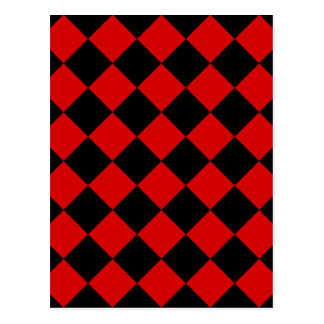 Diag Checkered - Black and Rosso Corsa Postcard
