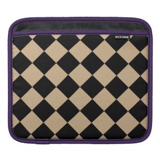 Diag Checkered - Black and Tan iPad Sleeve