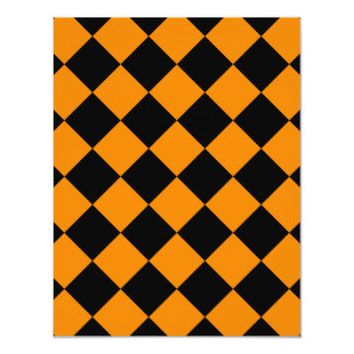 Diag Checkered - Black and Tangerine Card