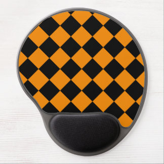 Diag Checkered - Black and Tangerine Gel Mouse Pad