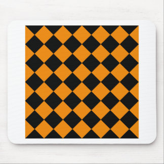 Diag Checkered - Black and Tangerine Mouse Pad
