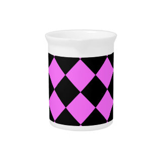 Diag Checkered - Black and Ultra Pink Beverage Pitcher