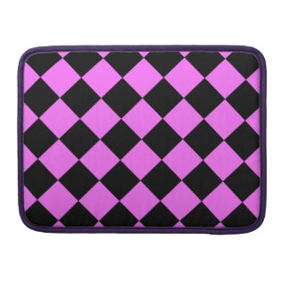 Diag Checkered - Black and Ultra Pink MacBook Pro Sleeve