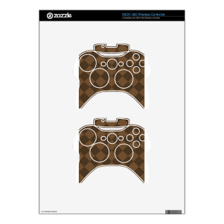 Diag Checkered - Brown and Dark Brown Xbox 360 Controller Skins