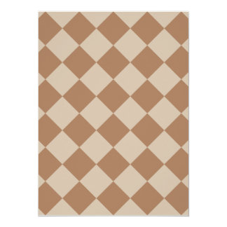 Diag Checkered - Brown and Light Brown 5.5x7.5 Paper Invitation Card