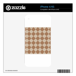 Diag Checkered - Brown and Light Brown iPhone 4S Skins