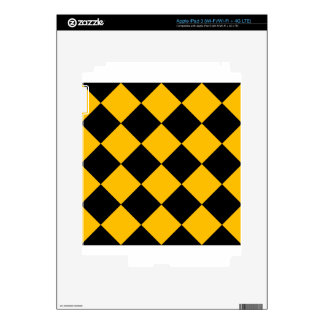 Diag Checkered Large - Black and Amber Decal For iPad 3