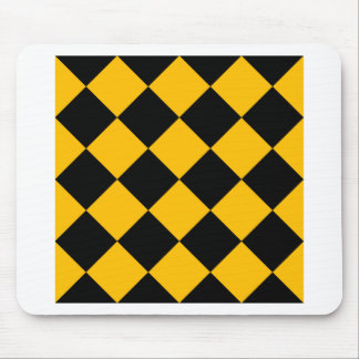 Diag Checkered Large - Black and Amber Mouse Pad