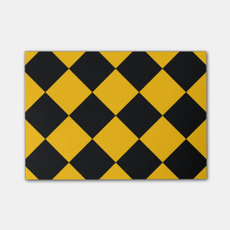 Diag Checkered Large - Black and Amber Post-it® Notes
