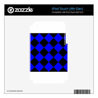Diag Checkered Large - Black and Blue iPod Touch 4G Decals