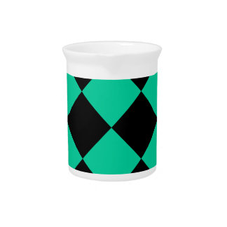 Diag Checkered Large - Black and Caribbean Green Beverage Pitchers