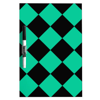 Diag Checkered Large - Black and Caribbean Green Dry-Erase Board