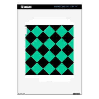 Diag Checkered Large - Black and Caribbean Green iPad 3 Decal