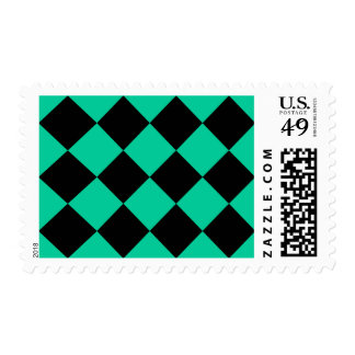 Diag Checkered Large - Black and Caribbean Green Postage