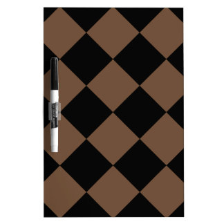 Diag Checkered Large - Black and Coffee Dry-Erase Board