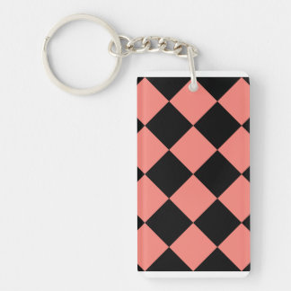Diag Checkered Large - Black and Coral Pink Keychain