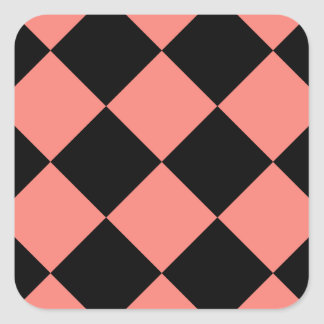 Diag Checkered Large - Black and Coral Pink Square Sticker