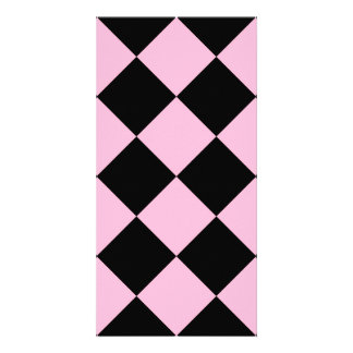 Diag Checkered Large - Black and Cotton Candy Card