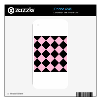 Diag Checkered Large - Black and Cotton Candy Decal For The iPhone 4