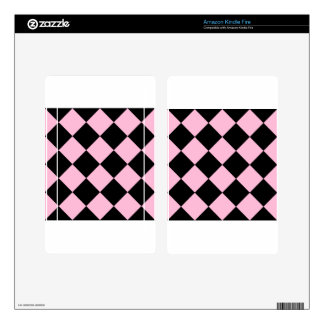 Diag Checkered Large - Black and Cotton Candy Kindle Fire Decals