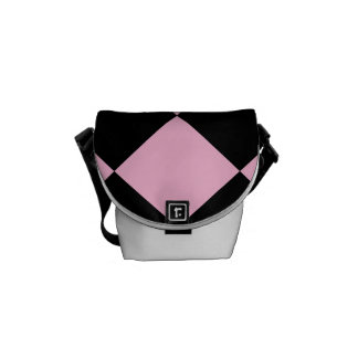 Diag Checkered Large - Black and Cotton Candy Messenger Bag