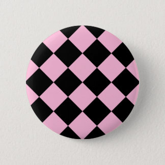 Diag Checkered Large - Black and Cotton Candy Pinback Button